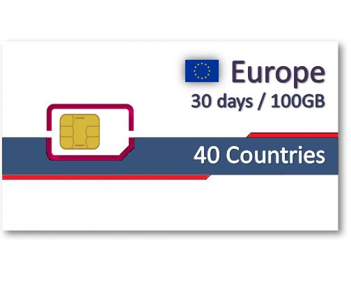 歐洲40國上網卡30天100GB