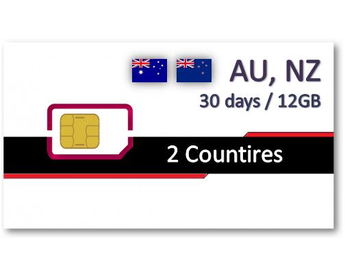 紐澳上網卡30天12GB+免費通話