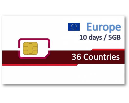 歐洲36國上網卡10天5GB+免費通話