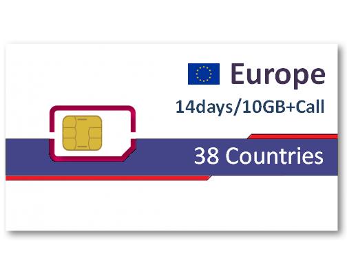 歐洲38國上網卡14天10GB+免費通話
