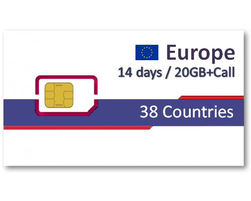 歐洲38國上網卡14天8GB/20GB+免費通話