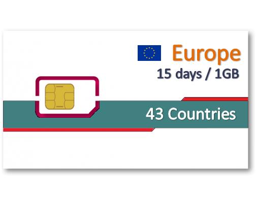 歐洲43國上網卡15天1GB-小資無分享