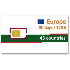 歐洲43國上網卡30天12GB+免費通話