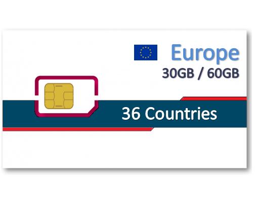 歐洲36國上網卡30天9GB/30GB/60GB+免費通話