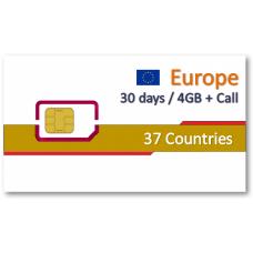 歐洲37國上網卡30天4GB+免費通話