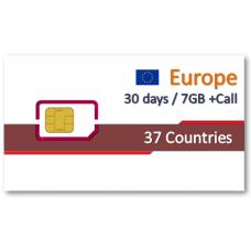 歐洲37國上網30天7GB+免費通話