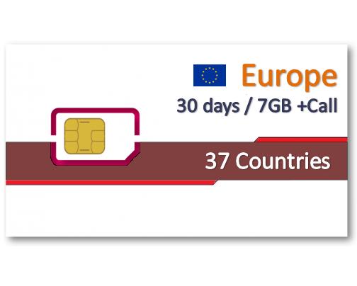 歐洲37國上網卡30天7GB+免費通話