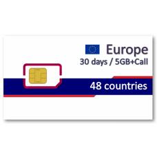 歐洲48國上網卡30天5GB+免費通話