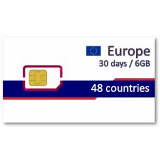 歐洲48國上網卡30天6GB