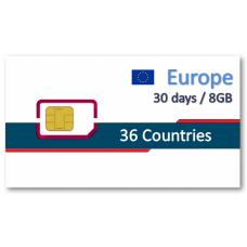 歐洲36國上網卡30天8GB+免費通話