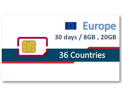 歐洲36國上網卡30天8GB/20GB + 免費通話