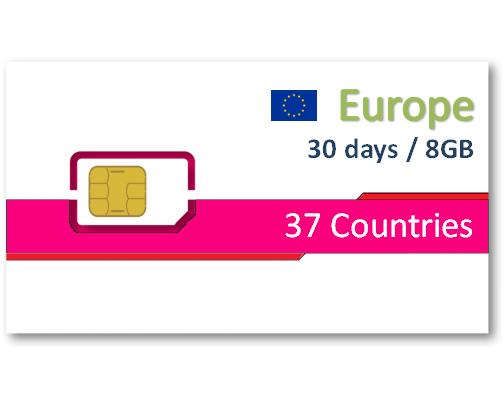 歐洲37國上網卡30天8GB+免費通話
