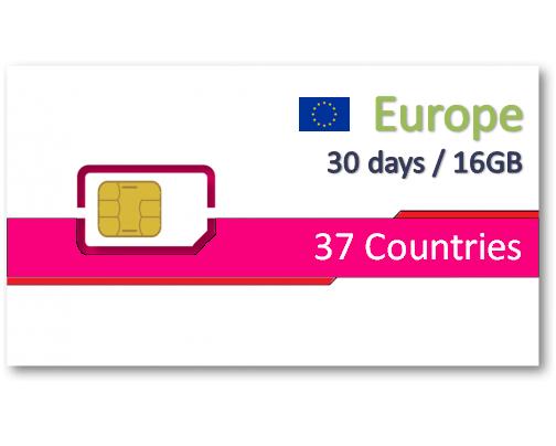 歐洲37國上網卡30天16GB+免費通話