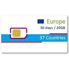 歐洲37國上網卡30天20GB+免費通話