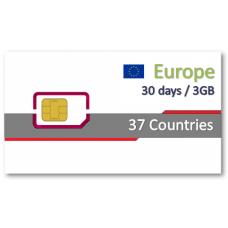 歐洲37國上網卡30天3GB+免費通話