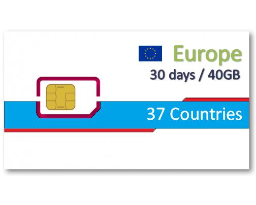 歐洲37國上網卡30天40GB+免費通話