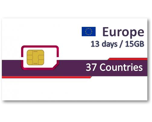 歐洲37國上網卡13天15GB