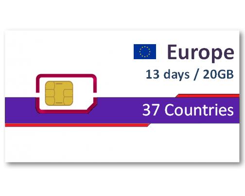 歐洲37國上網卡13天20GB
