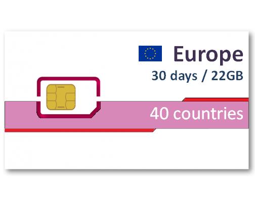 歐洲40國上網卡30天22GB