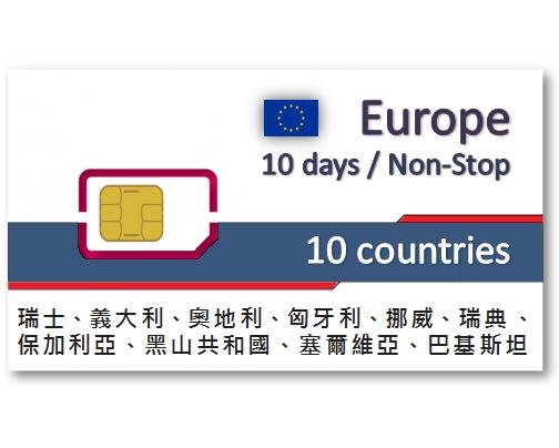 歐洲10國上網卡10天吃到飽
