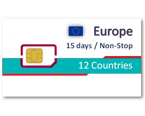 歐洲12國上網卡15天吃到飽