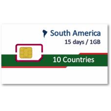 南美洲上網卡15天1GB