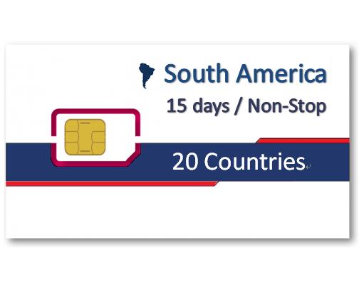 南美洲20國上網卡15天吃到飽