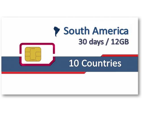 南美洲上網卡30天12GB+免費通話