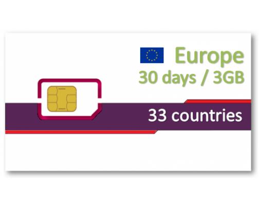 歐洲、中亞33國上網卡30天3GB