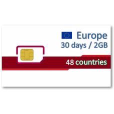 歐洲48國上網卡30天2GB/5GB/6GB/10GB
